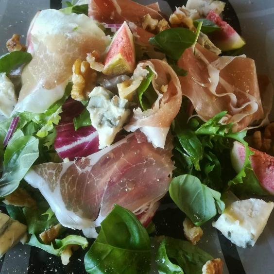 Pittige Ganda Ham salade met gorgonzola