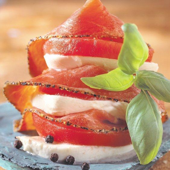 Ganda Ham met peper met tomaat en mozzarella
