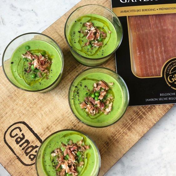 Erwtengazpacho met Ganda Ham Grand Cru